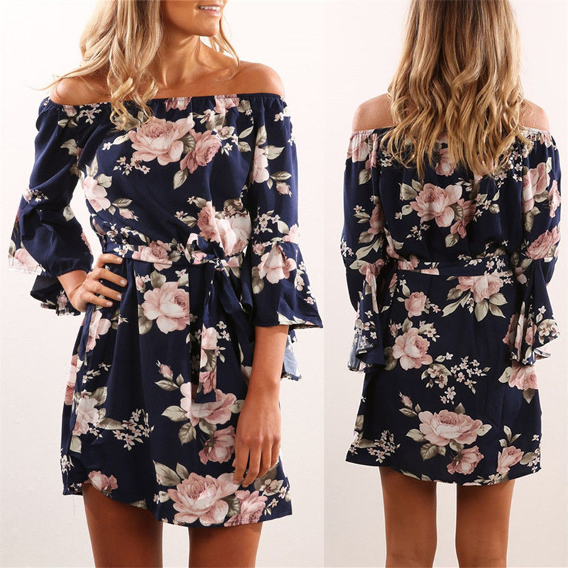 2018 NEW Arrival Women Off <strong>Shoulder</strong> Ruffles Floral Tunic Casual Party Shift Short Dress