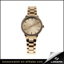 Round diamond Support ODM OEM rose gold alloy case strap lady original quartz luxury japan movement watch