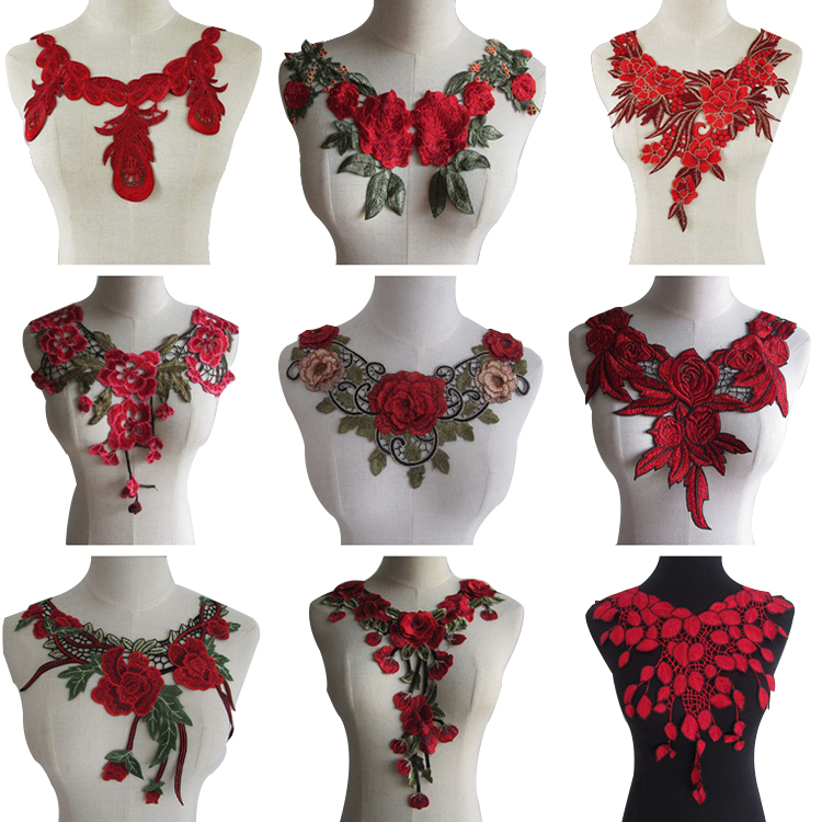 Supplies Handmade Fashion Lace Neckline Embroidery Fabric Collar DIY Crafts