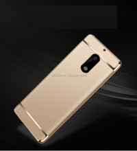 New arrival 3 in 1 aluminium alloy electroplate wire drawing pc hard phone case cover for Nokia 6