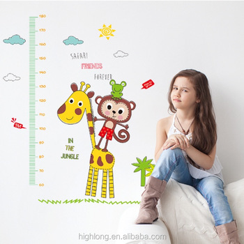 Giraffe animal height chart removable vinyl wall decal stickers growth chart