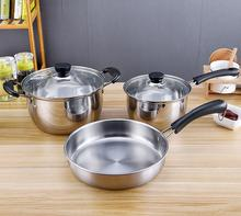 Non Stick Kitchenware Stainless Steel Cookware Set 3pcs High Quality Cooking Pots Set