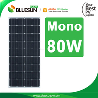 Bluesun 25 years warranty mono 80w 12v solar module pv panel