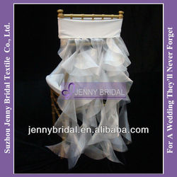 C034B2 2013 new white organza ruffle wedding chiavari Chair Covers