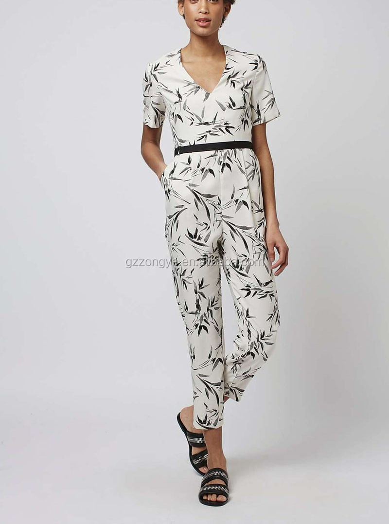 Back cut out with belt design printed short sleeve jumpsuits for women 2016