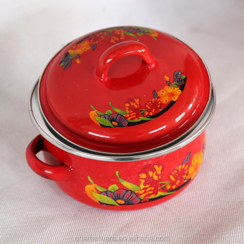 factory supply enamel pot set kitchen cookware porcelain clad casserole red color 3SETS