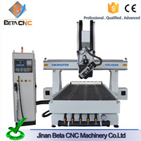 hot sale 4 axis atc cnc router, 1325 size woodworking cutting carving milling machine price for curve wooden