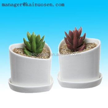 Heart Shaped White Ceramic Mini Succulent & Flower Planter Pots Removable Draining Dishes