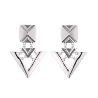 Fashion Jewelry Antique Silver Shiny Geo Square Triangle Hinged Drop Stud Earrings For Women