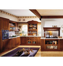 Classical Assembled Artificial Wood Kitchen Cabinet With Range Hood Cover Design