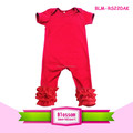 Manufactuer directly red cotton baby short sleeve kids romper triple icing ruffle rompers