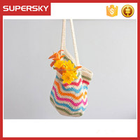 K-736 Cherron Hand Crocheted Shoulder Bag Flower Women Crochet Tote Bag For Shopping