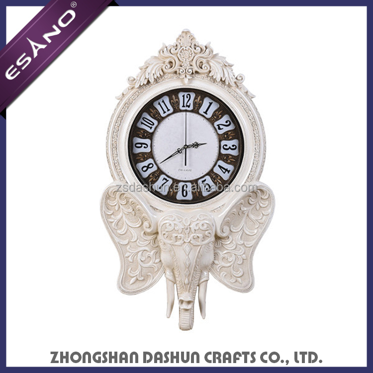 Animal home decor resin art clock bulk elephant wall clocks