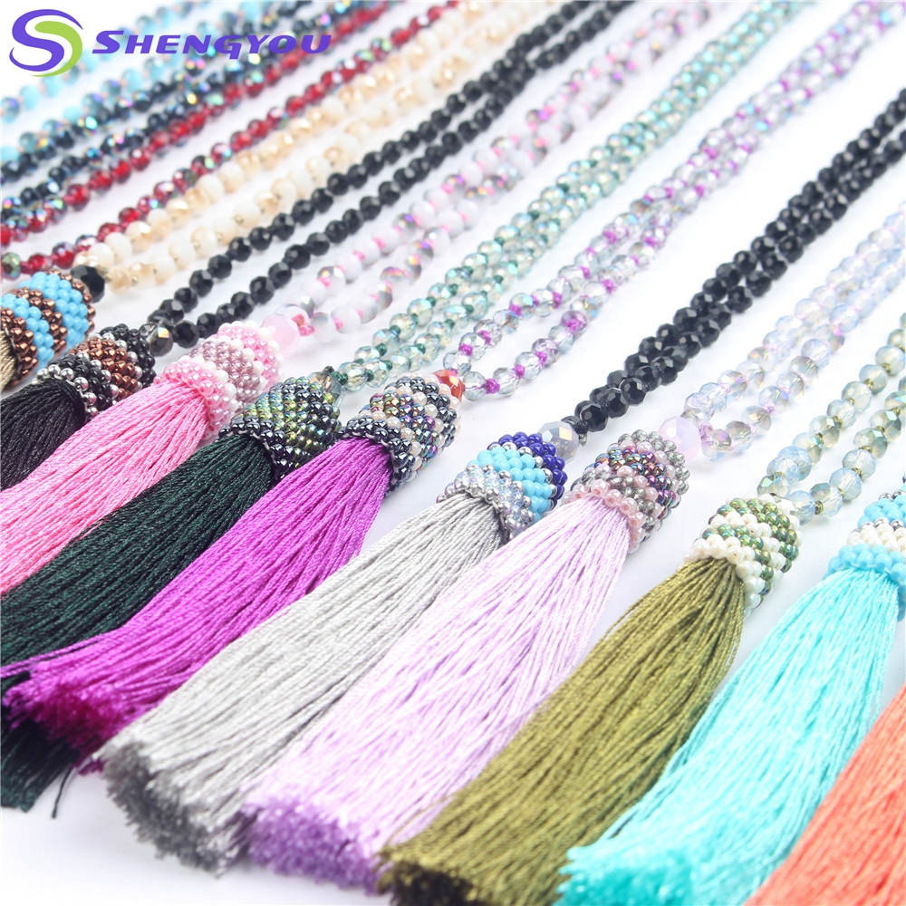 Handmade Jewelry Latest Design Tassel Bead Necklace with Multiple Colors