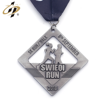 Custom hollow metal antique silver marathon running sports medals