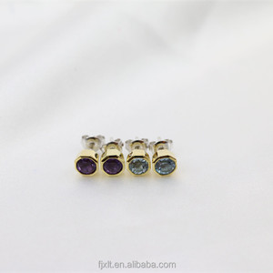 Cubic Geometric Shape Stone Silver Earring 3 Gram Gold Beautiful Designed Stud Earrings Women Jewelry