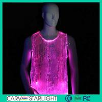 fiber optics fabric luminous led light latest design men's vest