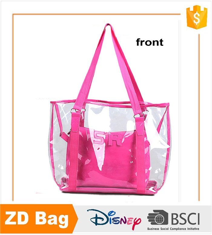 top quality fashion pink and black transparent pvc beach bag swim bag with handles
