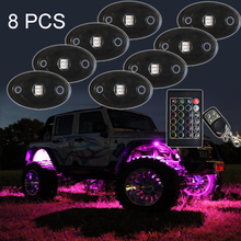 Super durable IP68 12V RGB mini LED rock light led deck rock lights for boat truck car Double remote control