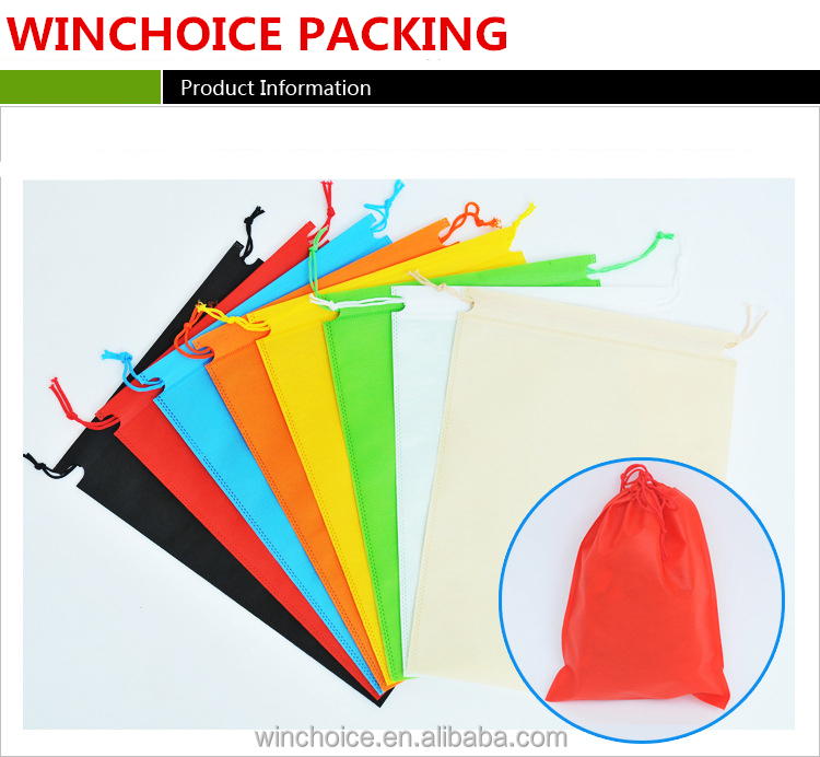 Logo printed promotional cords draw pouch/ cheap pull string gift bag wholesale