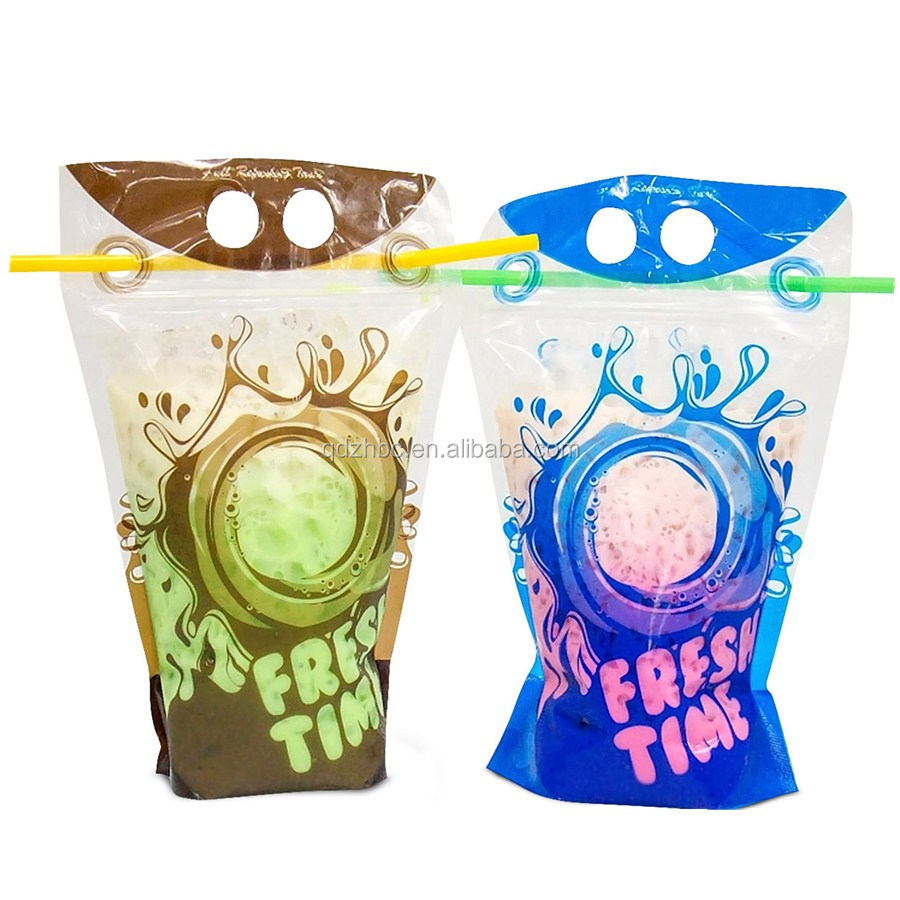 disposable clear double zipper stand up drink pouch
