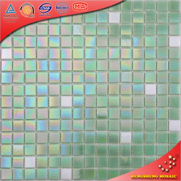 LS27 Iridescent Plating Blue and Black and White Color Square SPA and Swimming Pool Glass Mosaic Tile