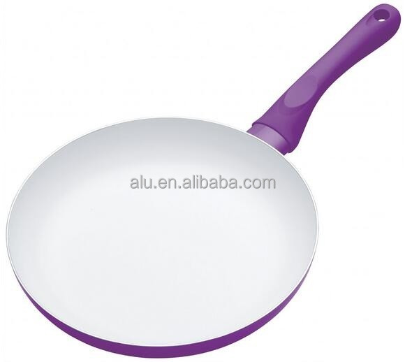 Purple Color Aluminum Ceramic Coating Fry Pan Rivet Connection Fry Pan