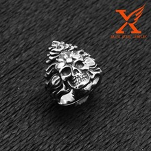 In Stock Hot Sale Stainless Steel Expendable Skull Charm Retaining Indian Rings for Men
