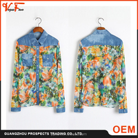 Fashion new summer shirt, printed long bat sleeve blouses, latest blouse design pictures
