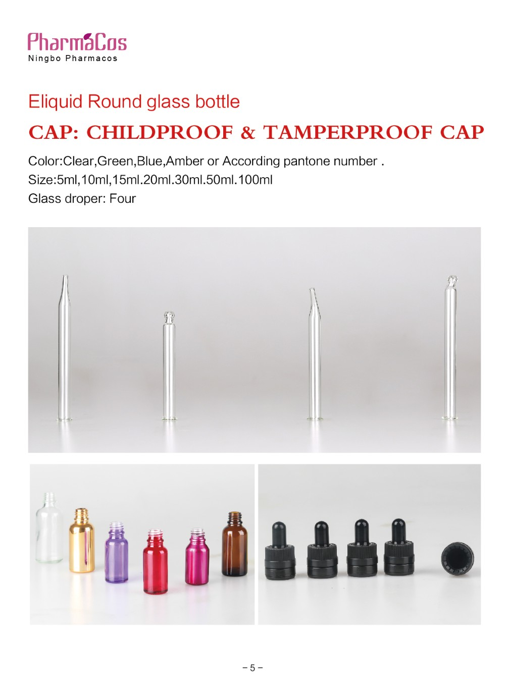 30ml e liquid glass bottle with tamperproof and childproof cap