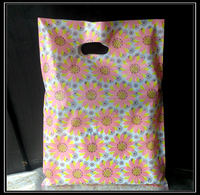 Sunflower pictures Plain Cheap Die Cut Punch Recycle Plastic Bag