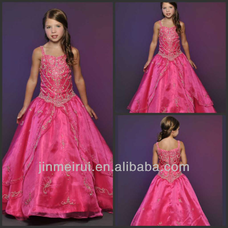New Arrival Floor Length Beaded Spaghetti Strap A-line Little Rosie Long Little Girls Pageant Dresses From China DF053