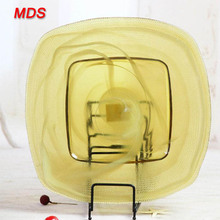 Cheap wedding yellow square glass plate events gold dishes and charger plate