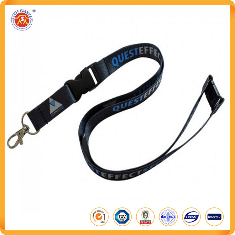 High quality fashion eco-friendly customized silkscreen printing logo google lanyard with metal hook