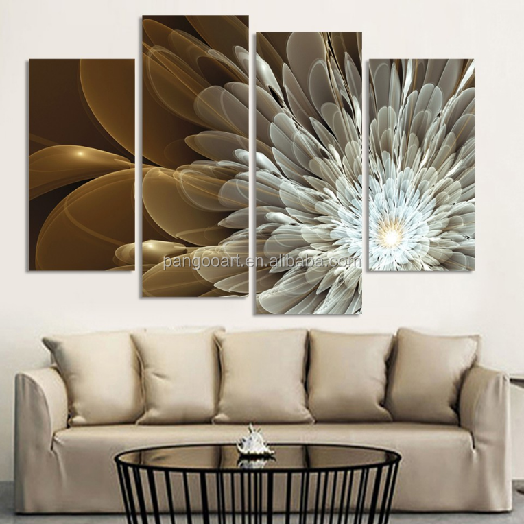 4pcs Wealth And Luxury Golden Flowers Painting Print on canvas wedding decoration for living room Modular wall <strong>Picture</strong>