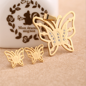 Stainless steel fashion simple design gold/silver butterfly pendant with earrings