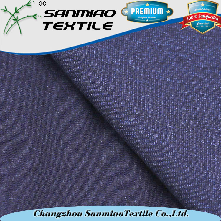 Wholesale price indigo knitted denim fabric with free swatches