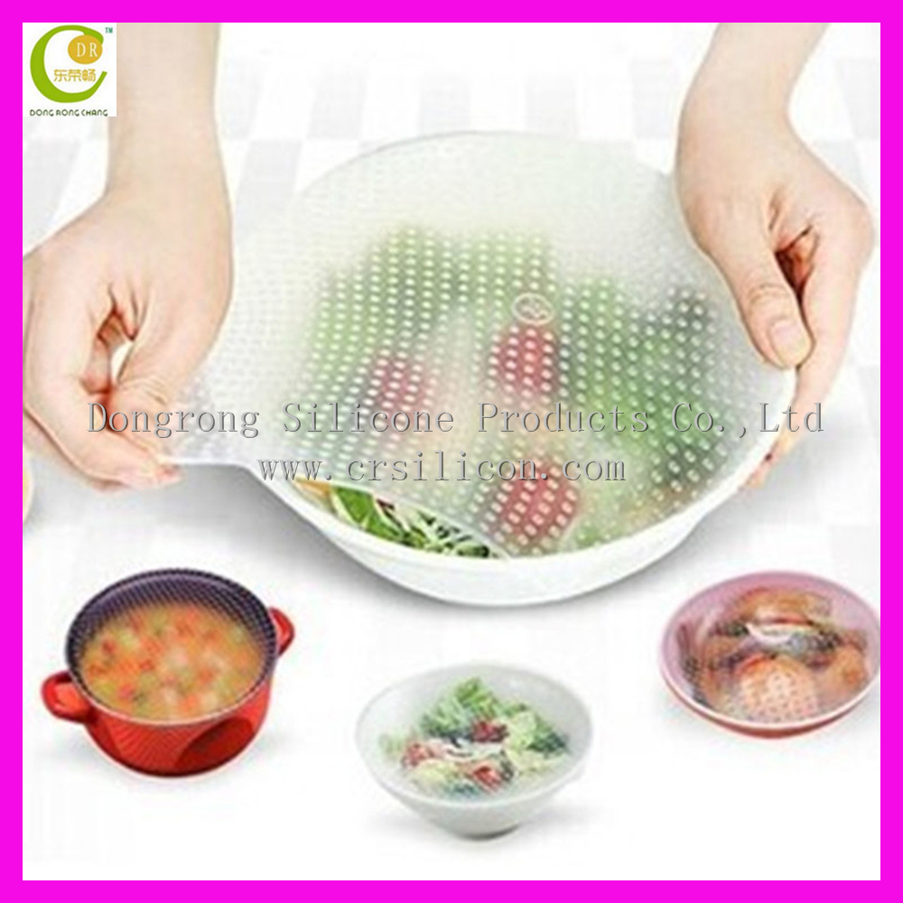 China factory LFGB/FDA food grade silicone plastic wrap/strech silicone cling film For food wrap