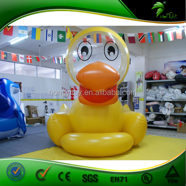 Funny Attractive Yellow Swimming Duck Cartoon/Custom Small Inflatable Duck Character Cartoon