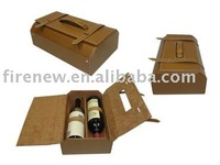 2016 China manufacturer faux leather PU 2 bottles wine box wine carrier