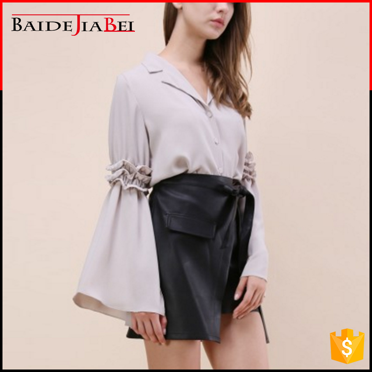 Latest design turn-down collar long bell sleeve ladies blouse
