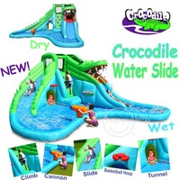 Happy Hop Inflatable Bouncer-9517 Giant Children Inflatabtable Super Crocodile Water Slide