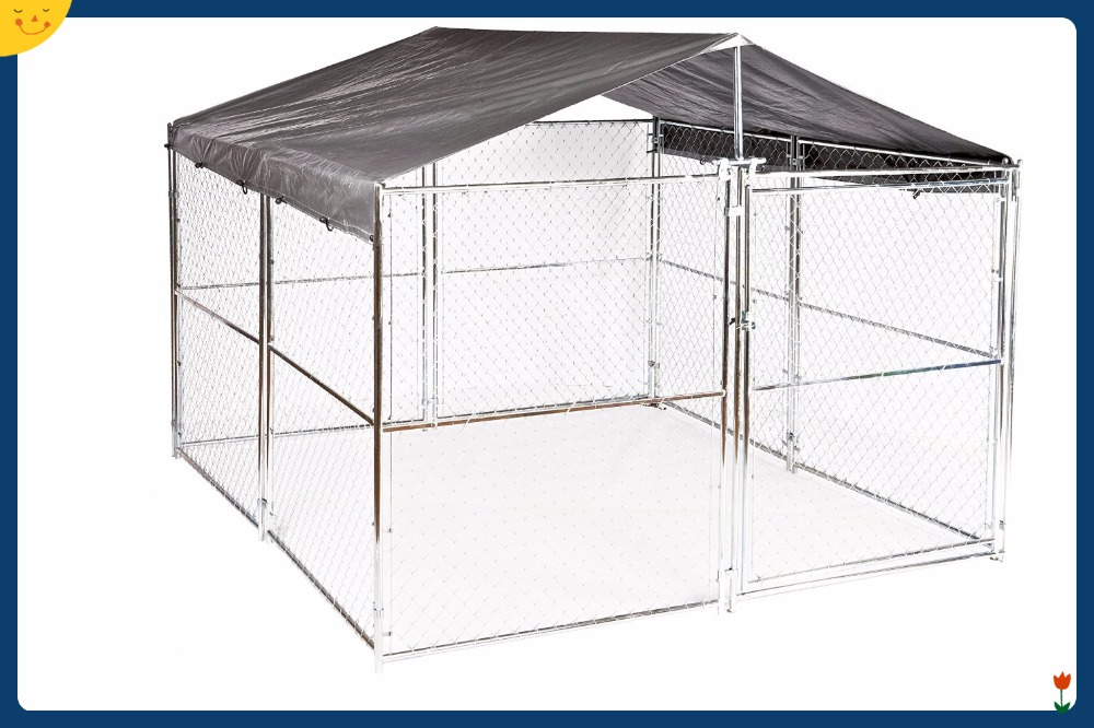 Outdoor Pet House 6 ft. H x 5 ft. W x 15 ft. L or 6 ft. H x 10 ft. W x 10 ft. L - 2 in 1 Galvanized Chain Link Dog Kennel