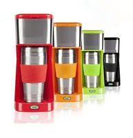 2 in 1 single cup coffee maker for ground coffee and pod use,with stainless vacuum cup