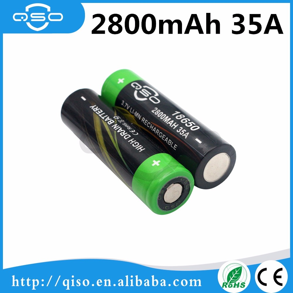 QSO High Capacity 2800mah 35A li-ion 3.6v battery 18650 li-mn IMR lithium battery cell