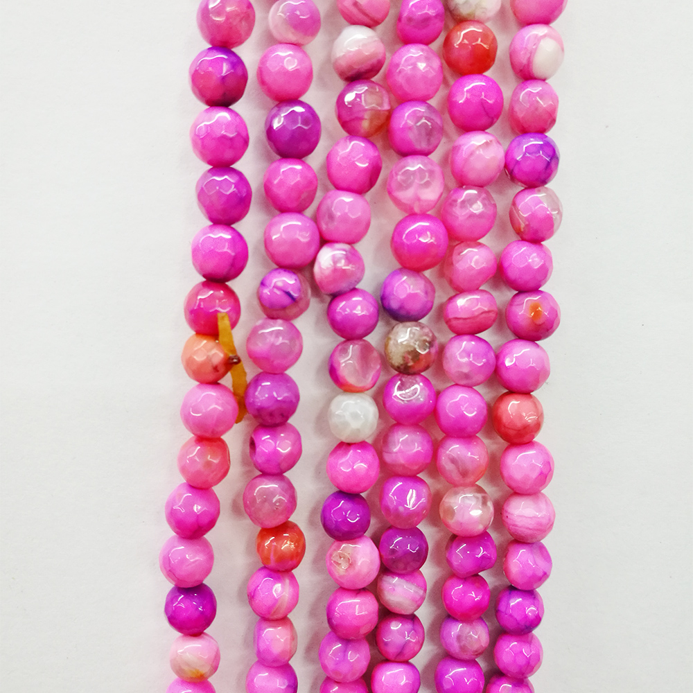 4mm 6mm 8mm 10mm 12mm Hot Pink Natural semi precious stone different colors faced Round agate strands