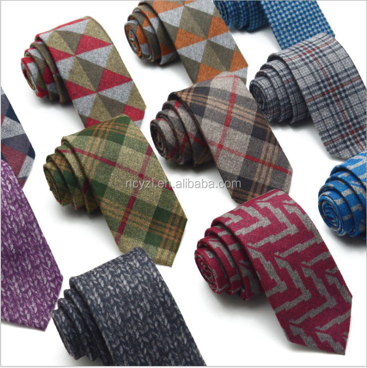 imitate wool knitting tie and mix joint printing necktie for men