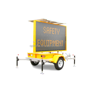 OPTRAFFIC ODM WEBSYSTEM Controlled Solar Powered Trailer Mounted Electronic LED Mobile Portable Amber VMS