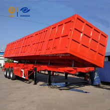 80 ton 3 alxes side dump semi trailer with 12 wheels