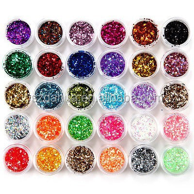 30 Colors Nail Art Glitter Powder For UV GEL Acrylic Powder Decoration Tips